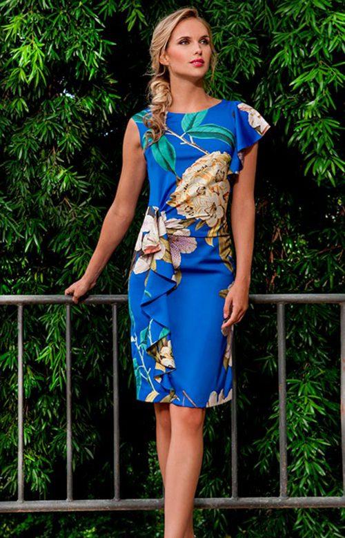 Vestido corto azul estampado olimara 3190046