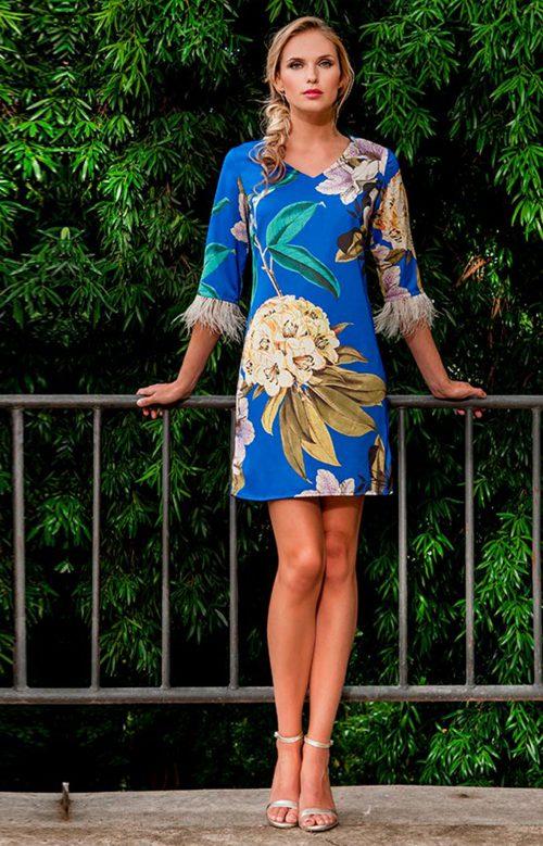 Vestido corto con mangas azul estampado olimara 3190048