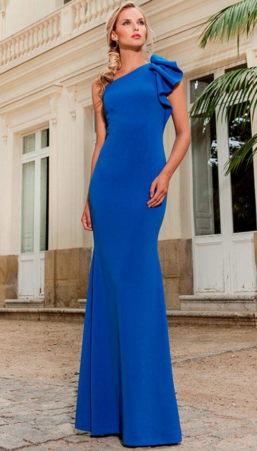 176601ab0 Vestido largo azul en crepe Olimara 3190226