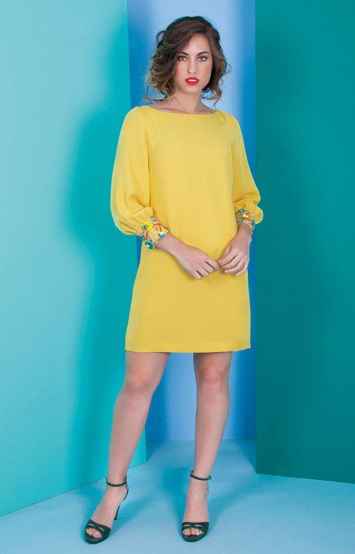 Vestido nuribel corto en crepe recto amarillo 642