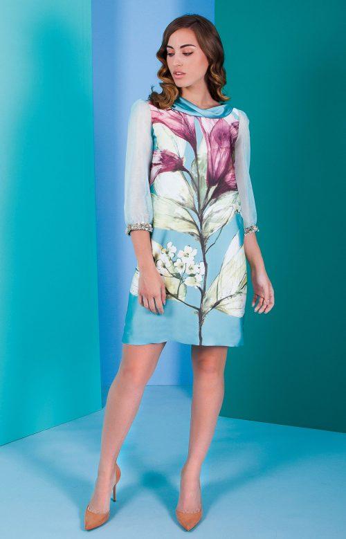 Vestido nuribel corto recto estampado con mangas en seda cristal turquesa 501