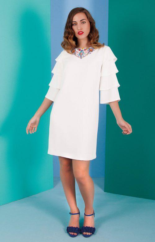 Vestido nuribel en crepe corto mangas volantes blanco 640