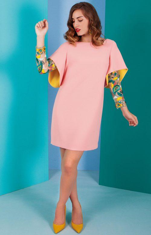 Vestido nuribel en crepe mangas pedreria rosa 641