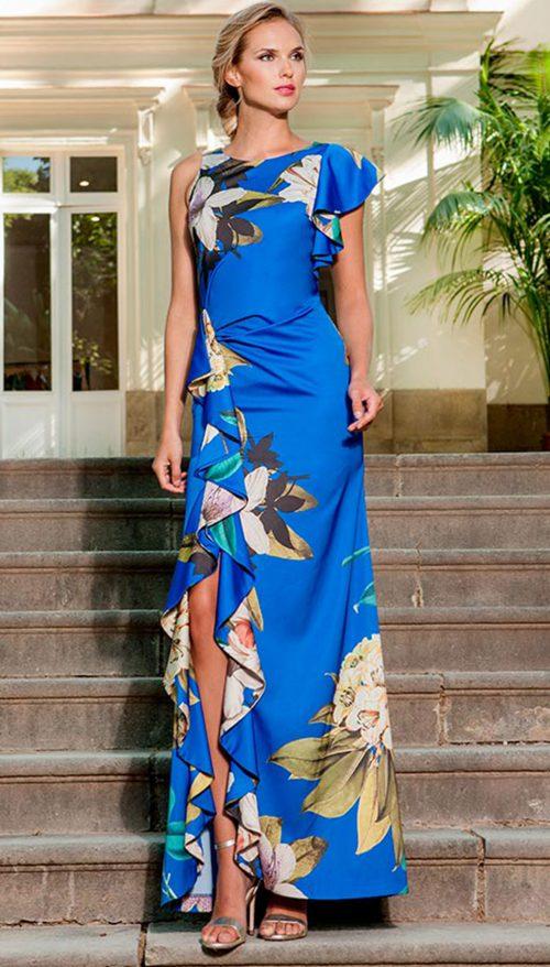 Vestido largo azul estampado 3190231
